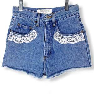 Vintage Shorts Denim High Rise Embroidered W24